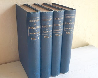 Set of 4 Antique 1800s Books Blue Home Decor Vignette History of England