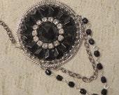 Antique Button Necklace - Faceted Black Glass Button - Antique Button Jewelry