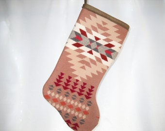 Christmas Stocking XL Pink, Maroon and White with Tribal Arrows A Southwestern Geometric Handcrafted Using Fabric from Pendleton Woolen Mill