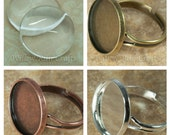 30 pcs 16mm Circle Ring Blanks 16mm with 30 Glass Cabochons, Adjustable, Pick from Shiny Silver, Bronze and Antique Copper