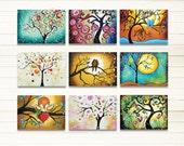 "ACEO Prints, Tree Prints, Tree of Life Woodland Art Whimsical Folk Art, ATC Artist Trading Cards Set of 9 Signed Prints 2.5"" x 3.5"""