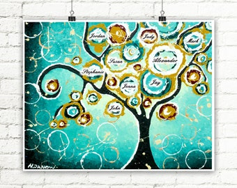 Family Tree Wall Art, Personalized Print Custom Name Turquoise Wall Decor, Family Tree Art, Anniversary Birthday Gift