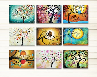 "ACEO Prints, Tree Prints, Tree of Life Woodland Art Whimsical Folk Art, ATC Artist Trading Cards Set of 9 Signed Prints 2.5"" x 3.5"""