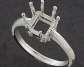 Sterling Silver ~ 9x9mm SQUARE/ CUSHION cut Ring setting ~ Custom sized from size 5 to size 12  ~ to be ordered ~ #845 ~  FDK