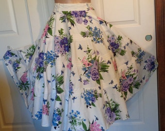 Vintage Circle Skirt Flowers and Bees Purple Pink W26