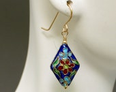 Blue Floral Cloisonne Ear...