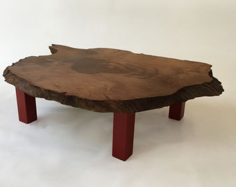 SALE!! QUICK SHIP! Live Edge Redwood Table with Red Legs - Rustic - Natural Coffee Table
