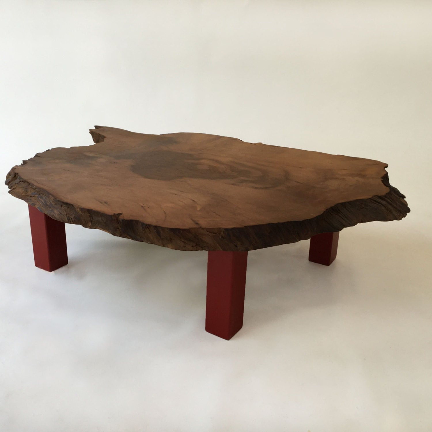 Sale Quick Ship Live Edge Redwood Table With Red Legs