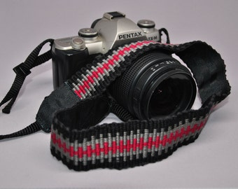 """22"""" Strength-Lined Hand Woven Adjustable Camera Strap (Black, Red, and Gray)"""
