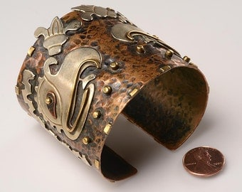Vintage Mexican Mixed Metals Cuff Bracelet:  Brass, Silver, Hammered Copper - Ancient Aztec Calendar Symbol of the Vulture  (Cozcacuauhtl)i