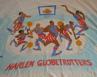 Vintage HARLEM GLOBETROTTERS single flat SHEET 1970's 80's twin size