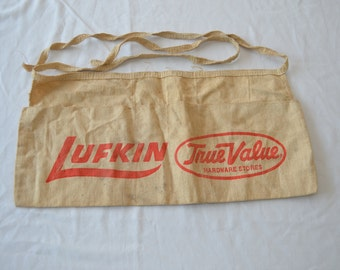 Vintage LUFKIN TRUE VALUE Advertising work shop apron carpenter