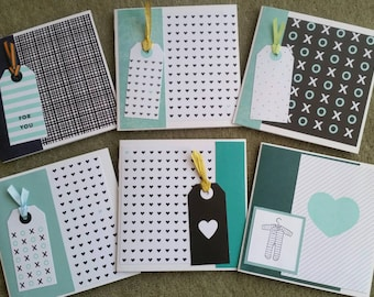 Hearts, hugs & kisses - set of 6 square greeting cards