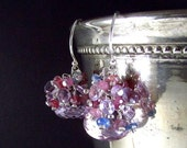 BIGGEST SALE EVER Pink Amethyst and Sapphire Sterling Silver Earrings.