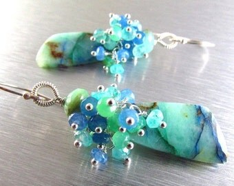 25% Off Summer Sale Chrysocolla With Blue Moonstone, Chrysoprase, Blue Quartz and Apatite Sterling Silver Cluster Earrings