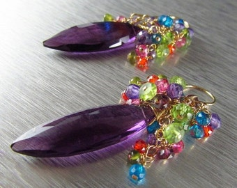 End Of Summer Sale Colorful Quartz With Amethyst Gold Filled Wire Wrapped Cluster Earrings