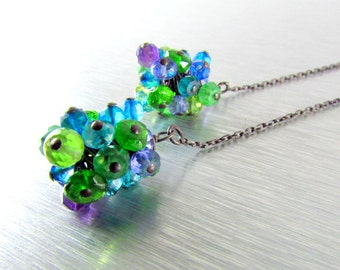 Colorful Gemstone With Oxidized Silver Threader Earrings