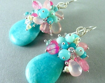 20 % Off Amazonite, Apatite, Rose Quartz and Pearl Sterling Cluster Earrings