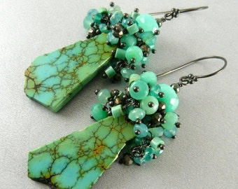 20 % Off Natural Turquoise Slab And Sterling Silver Earrings