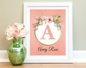Custom Nursery Print, Baby Girl Nursery Wall Decor, Nursery Wall Art, Personalized Gift, Gift For Mom, Floral Monogram, Coral Gold Nursery