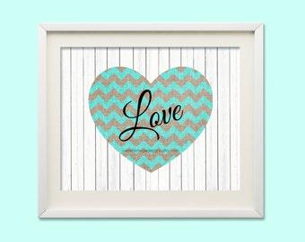 Nursery Art Printable, Teal Chevron Nursery Decor, Instant Download, Love Print, Baby Gift, New Mom Gift, Baby Wall Art, Beach Theme Nursery