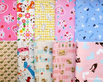 Japanese Fabric - Cute Print Scraps 10 pieces (816)