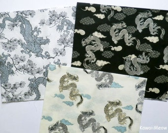 Japanese Fabric - Kimono Dragon 3 Fat Quarter Bundle Set - F262