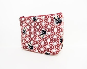Lucky Cat Pouch, Zipper Pouch, Cosmetic Bag, Fabric Pouch, Gift for Her, Gift Under 20, Change Pouch, Lucky Black Cat on Red Sashiko Stars