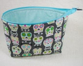 Open Wide Flat Bottom Zipper Pouch... Bonehead in Gray