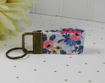 Mini Key Fob, Fabric Key Fob, ..Les Fleurs Rosa in Periwinkle, Rifle Paper Co