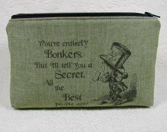 Zipper Pouch, Alice in Wonderland, Mad Hatter, Quote pouch, Fandom pouch