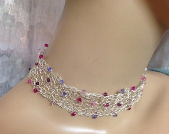 Crochet Knitted choker fine silver and Swarovski crystals in pink and purple necklace handmade