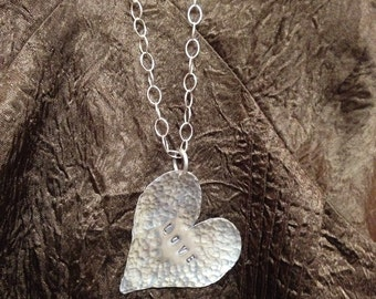 Silver hammered heart Necklace on silver chain-Love-handmade huge Valentine heart love heart
