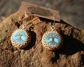 Yew Wood Tree of Life EarringsInlaid with Turquoise-- Wooden Jewelry,