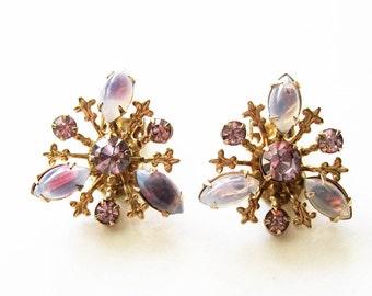 Vintage Amethyst  Purple  Clip on Earrings