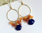 COLUMBUS DAY SALE Gold Hoop Earrings with Colorful Gemstones Mexican Fire Opal Blue Lapis Wire Wrap 14kt Gold Fill Petite Hoop Earrings Boho