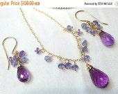 CUPID SALE Tanzanite Amethyst Necklace Earrings Set, 14kt Gold Fill, Wire Wrap Minimalist Jewelry, Simple Everyday Purple Gemstone February