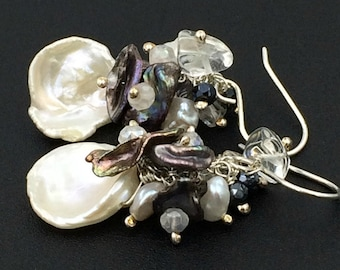 Ivory Keishi Pearl Earring Wire Wrap Cluster Keishi Pearl Black Spinel Clear Crystal Quartz Gemstones Sterling Silver Bridal Earring