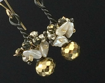 Gold Pyrite Cluster Earrings Petite Wire Wrapped Mixed Metal Dangle Earrings Keishi Pearls Mystic Spinel Boho Chic Urban Chic