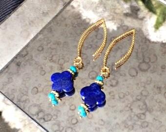 HALLOWEEN SALE Blue Lapis Dangle Earrings Gold Vermeil Turquoise Long Blue Earrings, Royal Blue Turquoise Earrings Blue Lapis Quatrefoil Clo