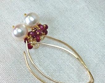 CUPID SALE xOx Ruby Pearl Earrings Ruby Cluster Long Dangle Earrings Gold Fill Elongated Pearl Ruby Cluster Earrings July Birthstone Minimal