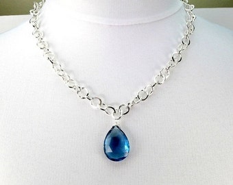 50% OFF SALE London Blue Quartz Necklace, Large Blue Stone Choker, Minimalist Jewelry, Statement Jewelry, Chain Necklace
