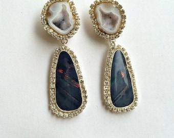 CUPID SALE Black Opal Dangle Earrings, Australian Black Opal, Double Dangle Post Earring Tabasco Geode Earrings Diamond Look Swarovski - Kat