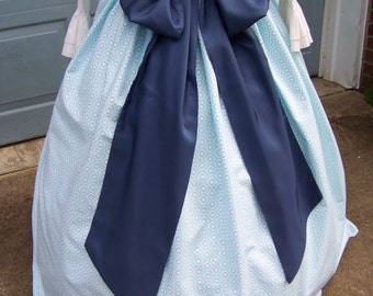 Colonial,Civil War,Victorian,Long SKIRT,sash and cape for camp dress one size fit all two Blues,while and dark blue with blue sash, handmade