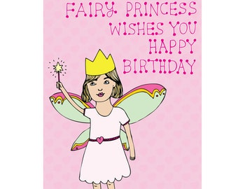Children's Birthday Card - Fairy Princess Wishes You Happy Birthday