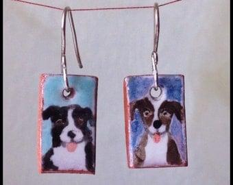 Aussie and Hound Handmade Majolica Glazed Ceramic Tile Earrings