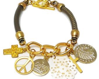 Hand crafted Leather and Gold Charm Bracelet andyANDmolly