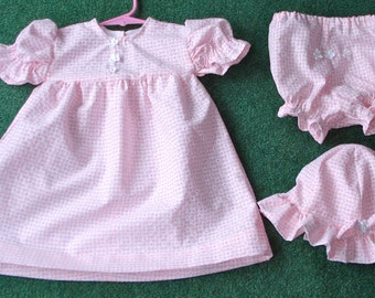 6 month Pink Dress, Hat, Diaper Cover