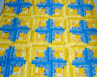 Sunshine Log Cabin Crib Quilt, Hand Quilted, for Boy or Girl Babies