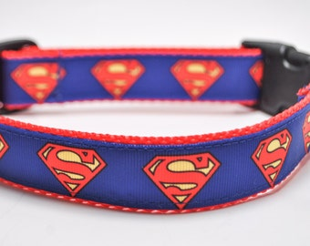 Superman Dog Collar / Buckle or Martingale / All Sizes